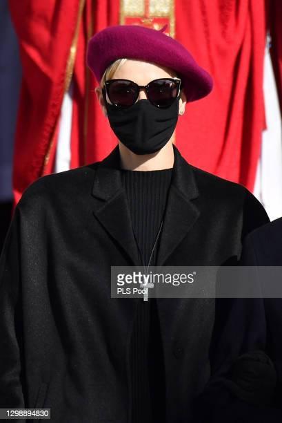 Princess Charlene of Monaco attends the Sainte Devote Ceremony on January 27, 2021 in Monaco, Monaco. Sainte Devote is the patron saint of The...