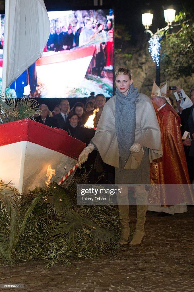 Princess Charlene of Monaco attends the Sainte-Devote ceremony on January 26, 2015 in Monaco, Monaco. Sainte devote is the patron saint of The Principality Of Monaco and France's Mediterranean Corsica island.