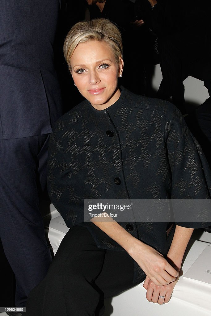 Princess Charlene of Monaco attens the Christian Dior Spring/Summer 2013 Haute-Couture show as part of Paris Fashion Week at on January 21, 2013 in Paris, France.
