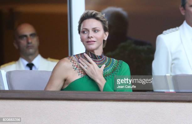 Princess Charlene of Monaco cheers for countryman Wayde van Niekerk of South Africa during his 400m at the IAAF Diamond League Meeting Herculis 2017...