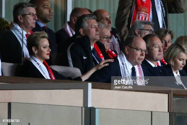Princess Charlene of Monaco consoles Prince Albert II of Monaco after the second goal of Juventus during the UEFA Champions League semi final first...