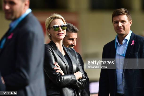 Princess Charlene of Monaco during the Top 14 match between Montpellier and Toulon at Altrad Stadium on October 7 2018 in Montpellier France