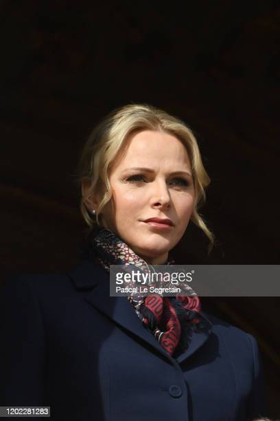 Princess Charlene of Monaco greets the crowd from the palace balcony during the Sainte Devote Ceremony. Sainte devote is the patron saint of The...