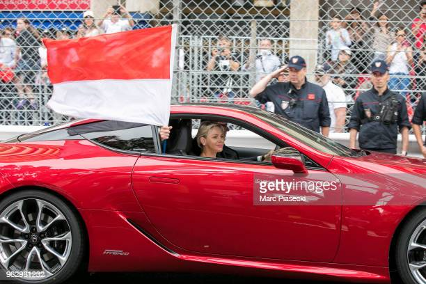 Princess Charlene of Monaco is seen during the Monaco Formula One Grand Prix at Circuit de Monaco on May 27 2018 in MonteCarlo Monaco