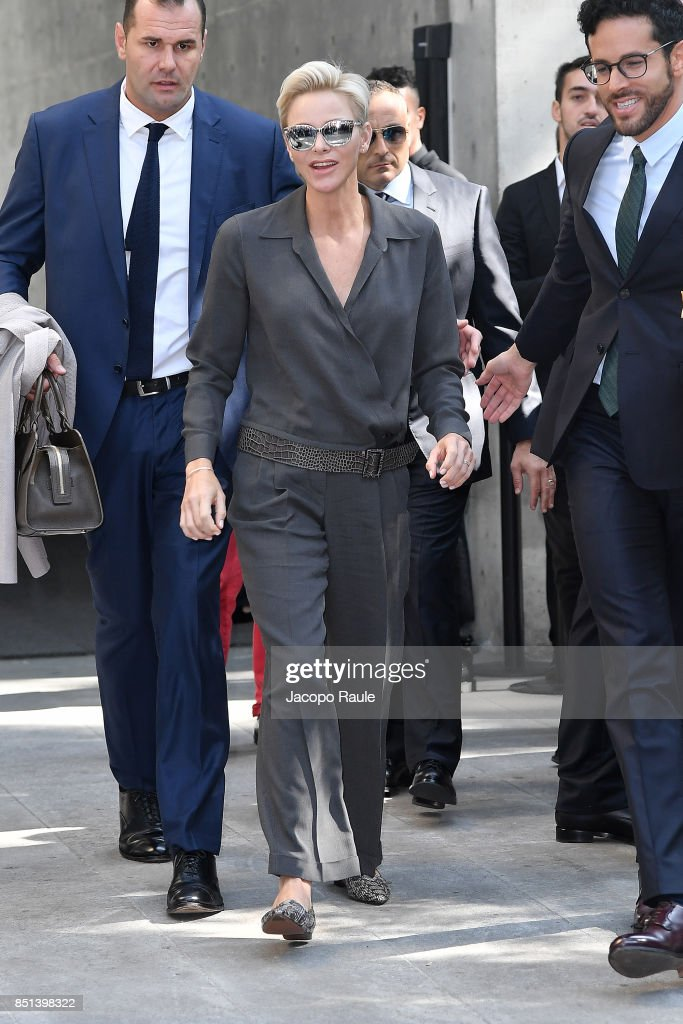 Princess Charlene of Monaco is seen leaving the Giorgio Armani show during Milan Fashion Week Spring/Summer 2018 on September 22, 2017 in Milan, Italy.