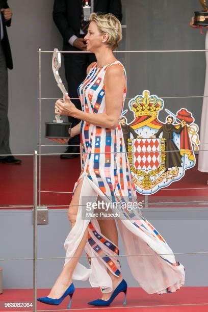 Princess Charlene of Monaco is seen on the podium at Circuit de Monaco on May 27 2018 in MonteCarlo Monaco