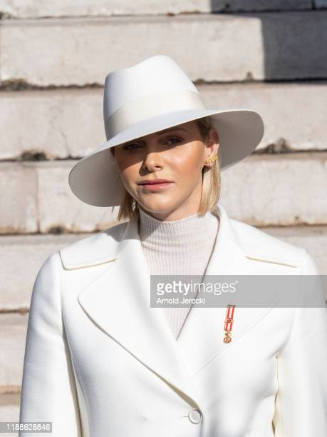 Princess Charlene of Monaco leave the Monaco Cathedral during the Monaco National Day Celebrations on November 19, 2019 in Monte-Carlo, Monaco.