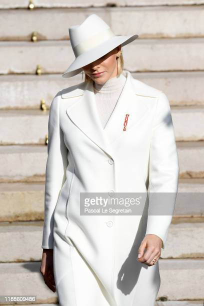 Princess Charlene of Monaco leaves the cathedral during the Monaco National Day Celebrations on November 19, 2019 in Monte-Carlo, Monaco.
