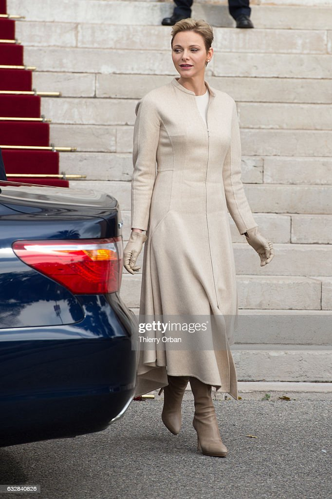 Princess Charlene Of Monaco leaves the Cathedral of Monaco after a mass during the ceremonies of the Sainte-Devote on January 27, 2017 in Monaco, Monaco. Sainte devote is the patron saint of The Principality Of Monaco and France's Mediterranean Corsica island.