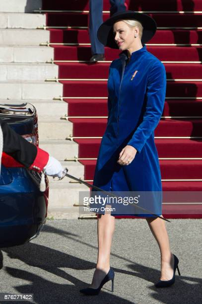 Princess Charlene of Monaco leaves the Cathedral of Monaco after a mass during the Monaco National Day Celebrations on November 19 2017 in Monaco...