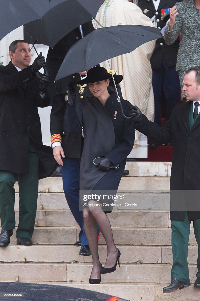 Princess Charlene of Monaco leaves the Celebration of Mass at Cathedral Notre Dame Immaculee during the Celebrations of Monaco National Day, in Monaco.