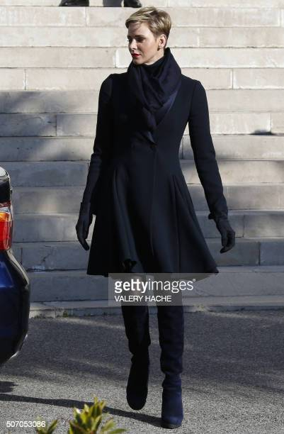 Princess Charlene of Monaco leaves the Monaco Cathedral after the Sainte Devote festivities in Monaco on January 27 2016 Sainte Devote is the patron...