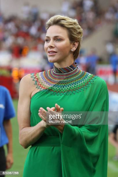 Princess Charlene of Monaco looks on at the IAAF Diamond League athletics meeting in Monaco on July 21 2017 / AFP PHOTO / Valery HACHE