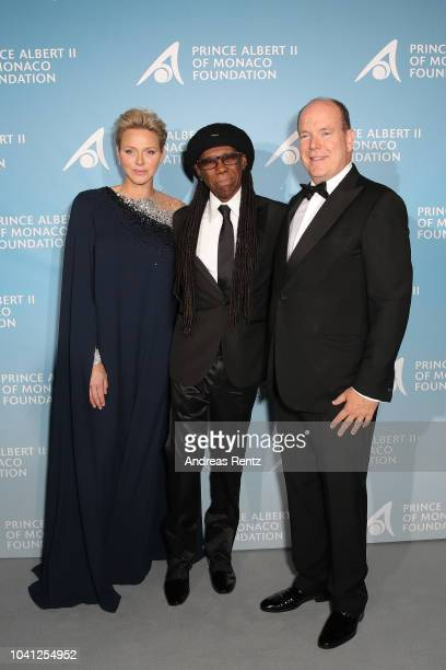 Princess Charlene of Monaco Nile Rodgers and Prince Albert II of Monaco attend the Gala for the Global Ocean hosted by HSH Prince Albert II of Monaco...
