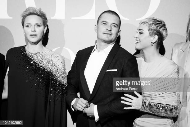 HSH Princess Charlene of Monaco Orlando Bloom and Katy Perry attend Gala for the Global Ocean hosted by HSH Prince Albert II of Monaco at Opera of...
