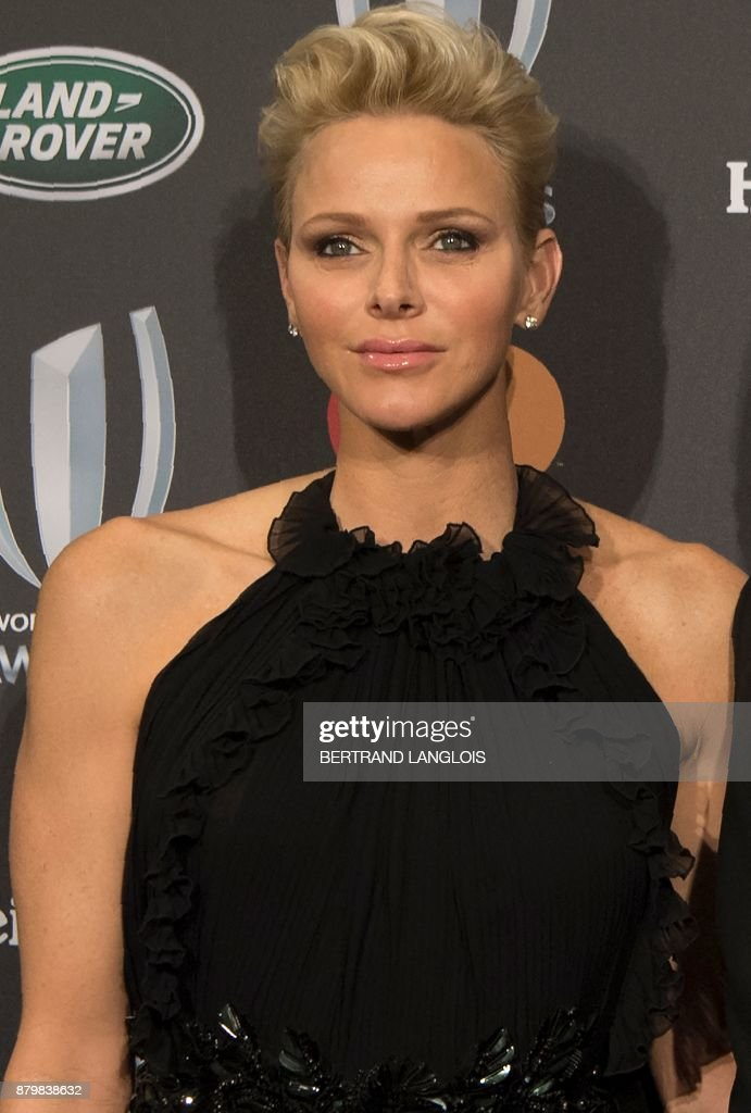 Princess Charlene of Monaco poses before attending World Rugby Awards on November 26, 2017 in Monaco.