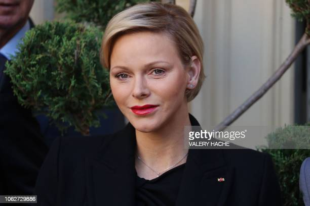 Princess Charlene of Monaco poses during the annual charity ceremony in Monaco on November 17 2018 Prince Albert II and Princess Charlene are...