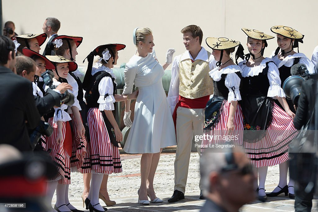 Princess Charlene of Monaco poses on The Palace Square after the Baptism of their twins on May 10, 2015 in Monaco, Monaco.