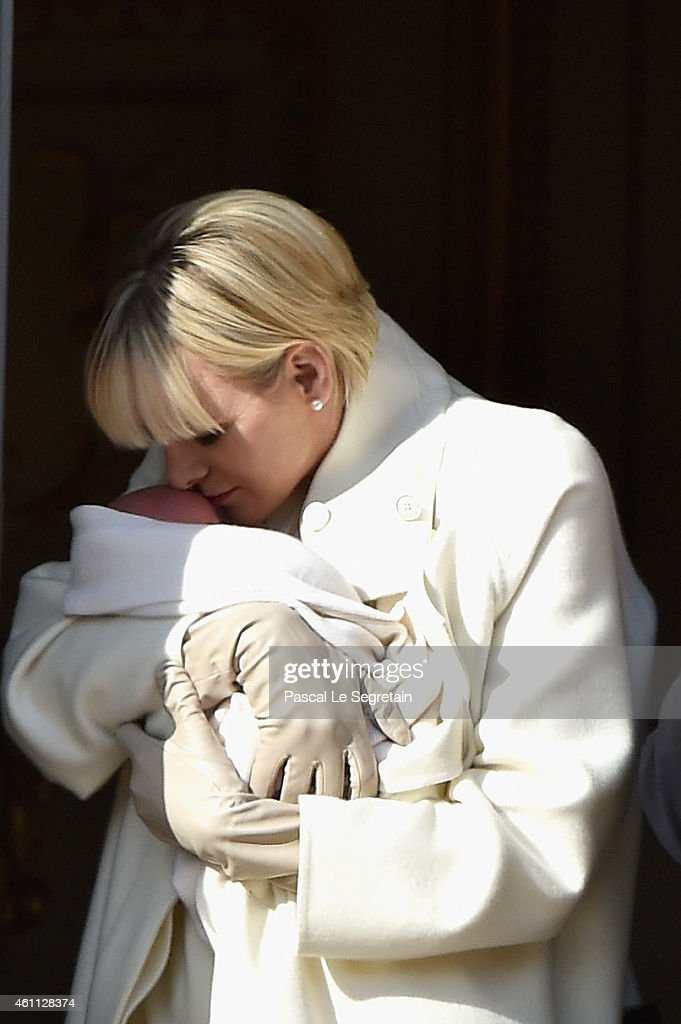 Princess Charlene of Monaco poses with Princess Gabriella on the balcony of the Monaco Palace on January 7, 2015 in Monaco, Monaco.