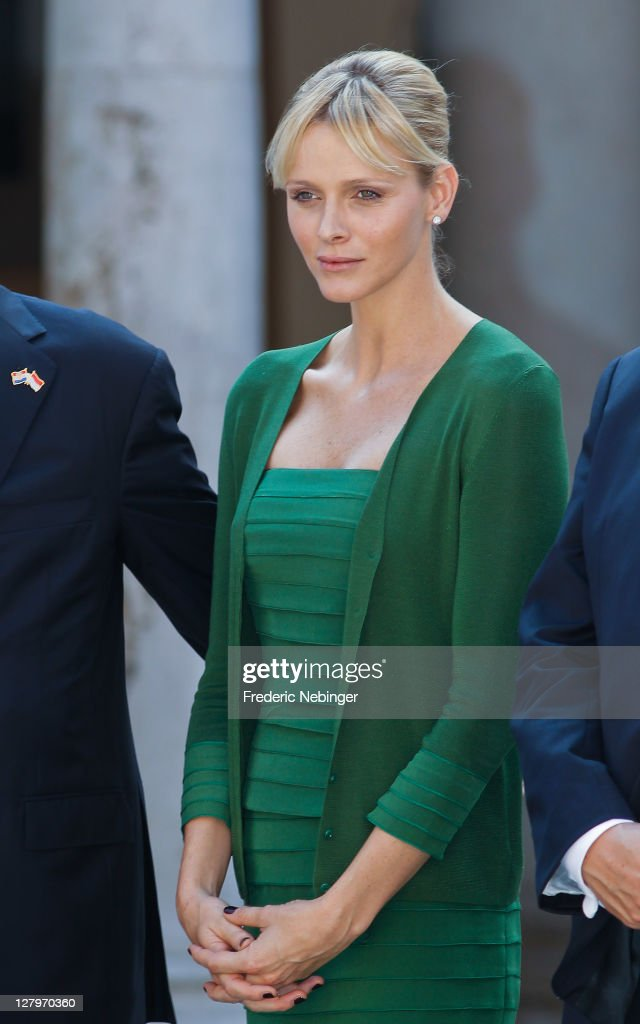 Princess Charlene of Monaco posing for pictures during the state visit of president Of Croatia Ivo Josipovic At Monaco Palace at Monaco Palace on October 4, 2011 in Monaco, Monaco.