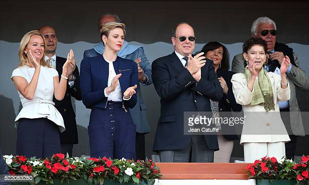 Princess Charlene of Monaco Prince Albert II of Monaco and ElisabethAnne de Massy attend the final of the 2016 MonteCarlo Rolex Masters at MonteCarlo...