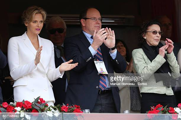 Princess Charlene of Monaco Prince Albert II of Monaco and ElisabethAnne de Massy attend the final match during day eight of the ATP Monte Carlo...