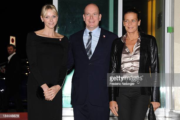 Princess Charlene of Monaco, Prince Albert II of Monaco and Princess Stephanie of Monaco attend the Fight Aids Monaco Gala And Auction 2011 on...