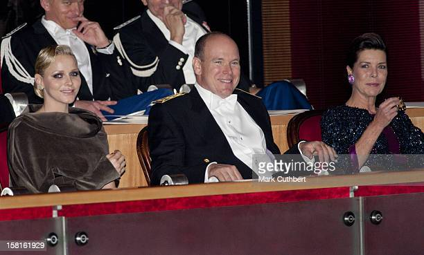 Princess Charlene Of Monaco Prince Albert Ii Of Monaco And Princess Caroline Of Hanover Attend The Monaco National Day Gala Concert At Grimaldi Forum...