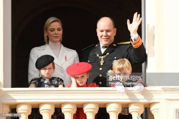 Princess Charlene of Monaco, Prince Albert II of Monaco, Kaia-Rose Wittstock, Prince Gabriella of Monaco and Prince Jacques of Monaco pose at the...