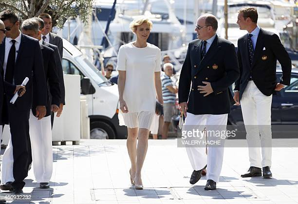 Princess Charlene of Monaco Prince Albert II of Monaco Pierre Casiraghi arrive for the inauguration of new Yacht Club of Monaco on June 20 2014 in...