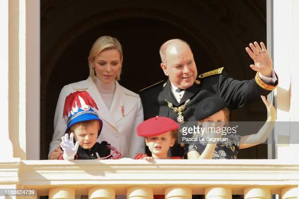 Princess Charlene of Monaco, Prince Albert II of Monaco, Prince Jacques of Monaco, Prince Gabriella of Monaco and Kaia-Rose Wittstock pose at the...