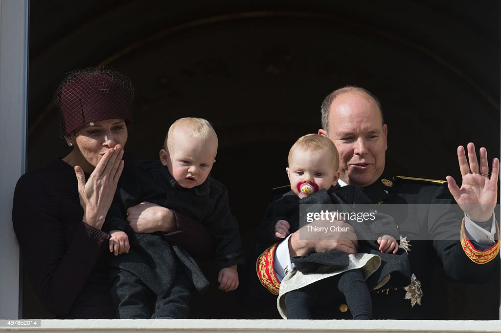 Princess Charlene of Monaco, Prince Albert II of Monaco, Princess Gabriela and Prince Jacques appear on the Balcony during the Monaco national day on November 19, 2015 in Monaco, Monaco.