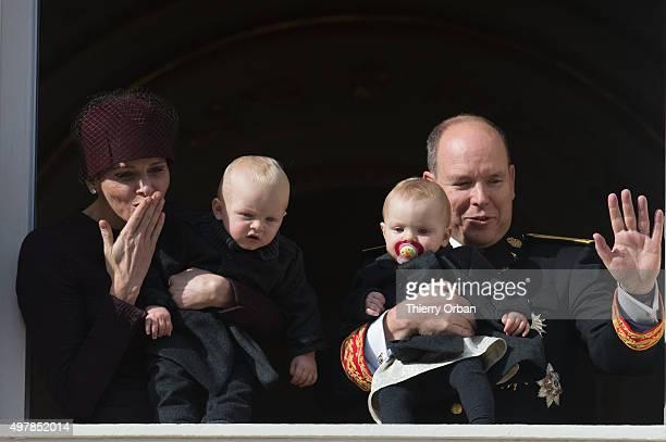 Princess Charlene of Monaco Prince Albert II of Monaco Princess Gabriela and Prince Jacques appear on the Balcony during the Monaco national day on...