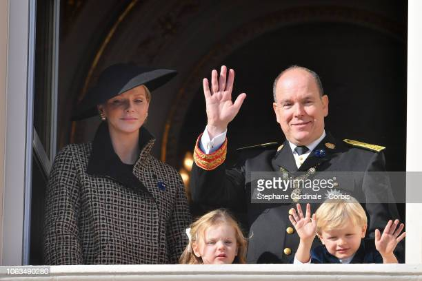 Princess Charlene of Monaco Prince Albert II of Monaco Princess Gabriella of Monaco and Prince Jacques of Monaco attend Monaco National Day...
