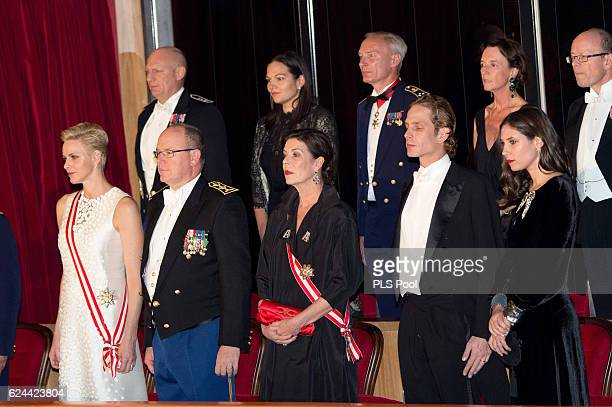 Princess Charlene of Monaco Prince Albert II of Monaco Princess Caroline of Hanover Andrea Casiraghi and Tatiana Santo Domingo attend a Gala during...