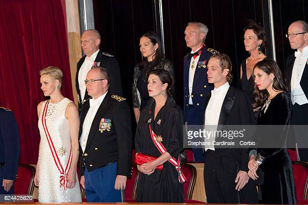 Princess Charlene of Monaco Prince Albert II of Monaco Princess Caroline of Hanover Andrea Casiraghi and Tatiana Santo Domingo attend a Gala at the...