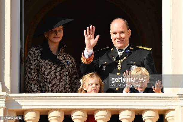 Princess Charlene of Monaco Prince Albert II of MonacoPrincess Gabriella of Monaco and Prince Jacques of Monaco attend the Monaco National day parade...