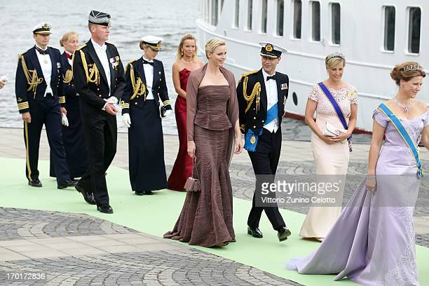 Princess Charlene of Monaco Prince Edward Earl of Wessex and Sophie Countess of Wessex depart for the banquet after the wedding ceremony of Princess...