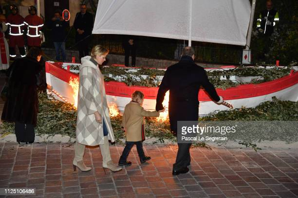 Princess Charlene of Monaco Prince Jacques of Monaco and Prince Albert II of Monaco attend the Ceremony Of The SainteDevote In Monaco on January 26...