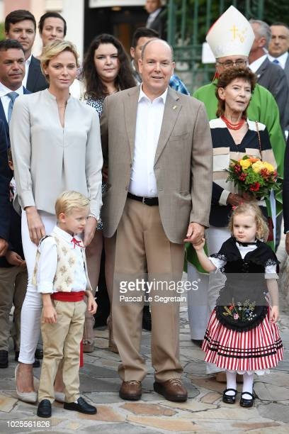 Princess Charlene of Monaco, Prince Jacques of Monaco, Prince Albert II of Monaco and Princess Gabriella of Monaco attend the Monaco annual picnic on...