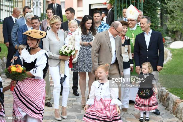 Princess Charlene of Monaco Prince Jacques of Monaco Prince Albert II of Monaco and Princess Gabriella of Monaco attend the Monaco annual picnic on...