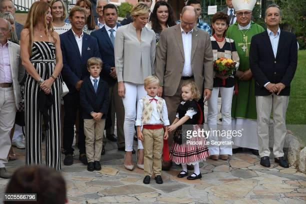 Princess Charlene of Monaco Prince Jacques of Monaco Prince Albert II of Monaco and Princess Gabriella of Monaco attend the Monaco annual picnic on...