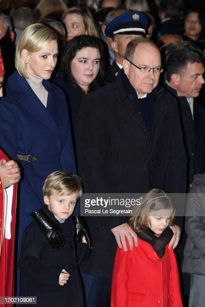 Princess Charlene of Monaco, Prince Jacques of Monaco, Prince Albert II of Monaco and Princess Gabriella of Monaco attend the Sainte Devote Ceremony....