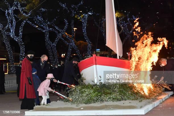 Princess Charlene of Monaco, Prince Jacques of Monaco, Prince Albert II of Monaco and Princess Gabriella of Monaco attend the Sainte Devote Ceremony....