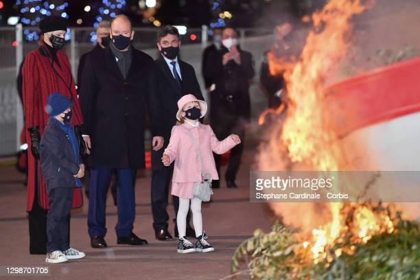Princess Charlene of Monaco, Prince Jacques of Monaco, Prince Albert II of Monaco and Princess Gabriella of Monaco attend the Sainte Devote Ceremony...
