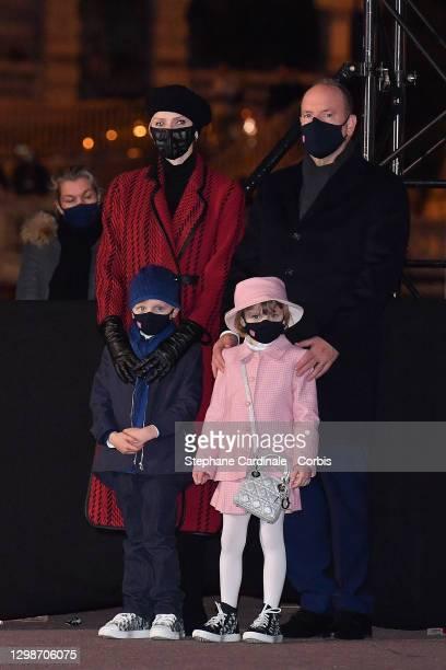 Princess Charlene of Monaco, Prince Jacques of Monaco, Princess Gabriella of Monaco and Prince Albert II of Monaco attend the Sainte Devote Ceremony...