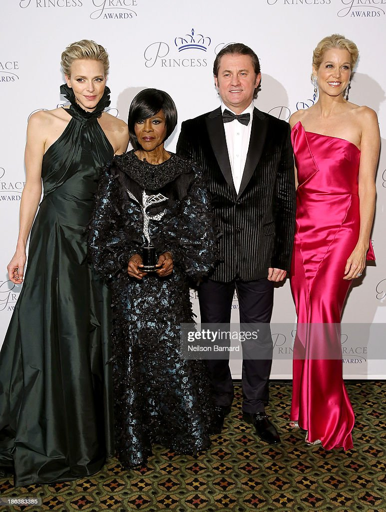 HSH Princess Charlene of Monaco, Prince Rainier III Award Recipient Cicely Tyson, Alex Soldier and Paula Zahn attend the 2013 Princess Grace Awards Gala at Cipriani 42nd Street on October 30, 2013 in New York City.