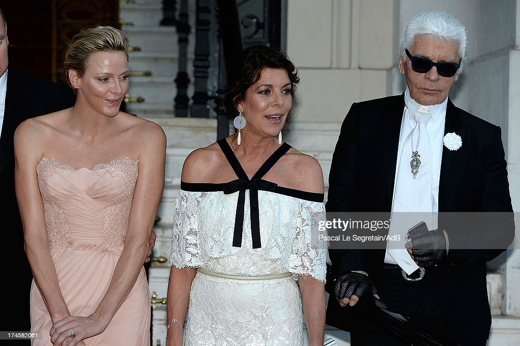 Princess Charlene of Monaco, Princess Caroline of Hanover and Karl Lagerfeld arrive at 'Love Ball' hosted by Natalia Vodianova in support of The Naked Heart Foundation at Opera Garnier on July 27, 2013 in Monaco, Monaco.