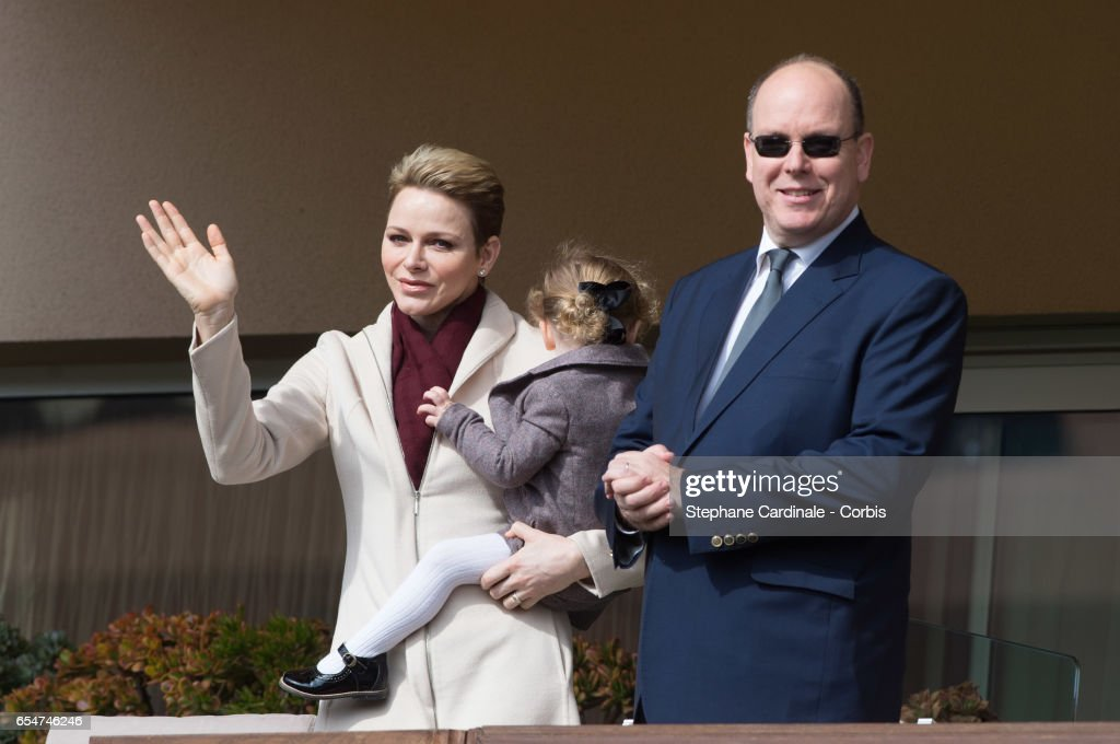 Princess Charlene of Monaco, Princess Gabriella of Monaco and Prince Albert II of Monaco attend the Sainte Devote Rugby Tournament on March 18, 2017 in Monte-Carlo, Monaco.