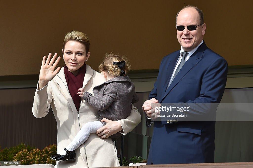 Princess Charlene of Monaco, Princess Gabriella of Monaco and Prince Albert II of Monaco attend the Sainte Devote Rugby Tournament on March 18, 2017 in Monte-Carlo, Monaco.